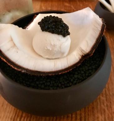 Coconut icecream with caviar